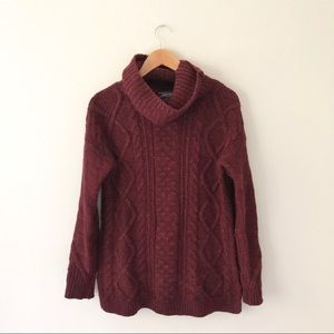 Landsend Maroon Speckled Thick Knit Cowl Sweater